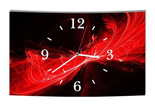 LAUTLOSE Designer Wanduhr Abstrakt schwarz rot modern Dekoschild Abstrakt Bild 39 x 25cm