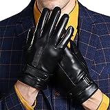 KelaSip Herren Winter Leder handschuhe Touch-Screen Kaschmir-Innenfutter Business-Leder handschuhe [Weihnachtsgeschenke],schwarz,2XL