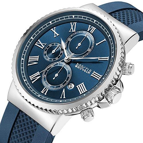 Watches Chronograph Blau Mens Quarzuhr Silikon Band Slim Herrenuhr Mode Sport Military Business Armbanduhr,Blue