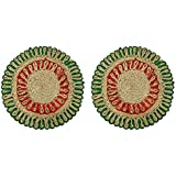 Ekan Flower Shape Jute Hot Pad Cup Mat, Table Mat, Dining Table Coaster, Non Slip Cup Mat Set Of 2, Multicolor 30 Gram Pack Of 1 (@2)