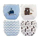 Skhls Säugling Baby wiederverwendbare Klettverschluss Baumwolle Windeln Abdeckung Set,4 Stück-Junge,L(6-12 monate)