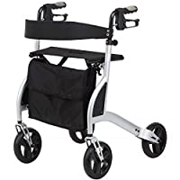 Ultra lightweight folding rollator walking frame with seat, cane holder and locking brakes - Lightest in the UK