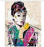 Yzrh Wall Decor Bilder Malen Nach Zahlen Handgemalt Auf Leinwand Gemälde Audrey Hepburn Moderne Abstrakte Ölgemälde 40X50cmWithout Frame