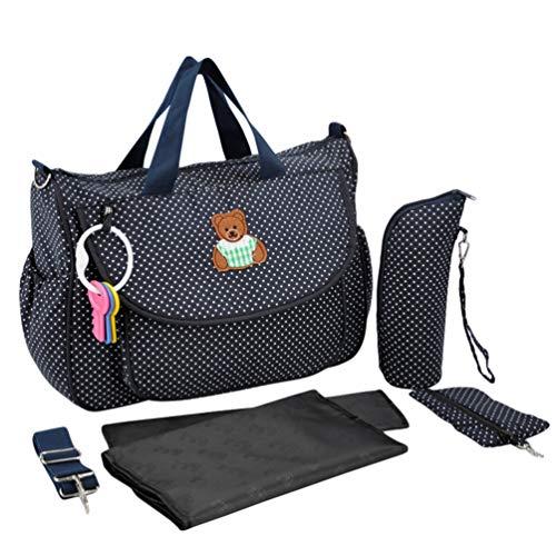 Haobing Set 5 Kits Bolsa de Mama para Bebé Bolso Cambiador de Pañales Bolsa de Maternidad de Viaje para el Hospital (Marina, 37x33x13cm)