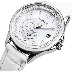 Comtex Women's Watches with Mother of Pearl Dial and White Leather Butterfly Fashion Watch