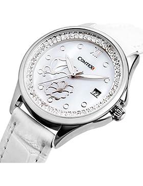 Comtex Damen-Armbanduhr Analog Quarz mit Weißes Zifferblatt und Weißes Leder