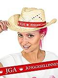 KULTFAKTOR GmbH Strohhut Junggesellinnenabschied JGA beige-rot Einheitsgröße