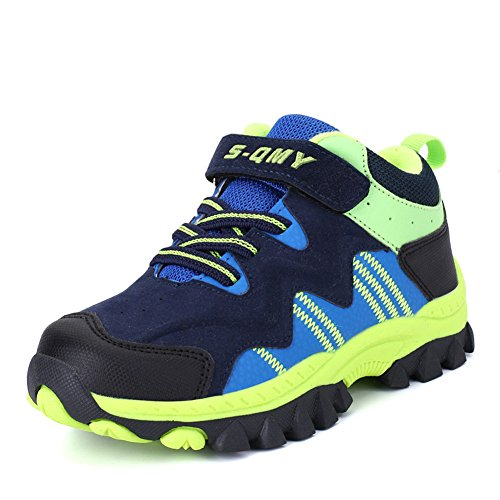 Kinder Wanderschuhe Sneaker Klettverschluss Jungen Mädchen Warm Gefüttert Outdoor Trekking Schuhe (Marineblau Grün 36)
