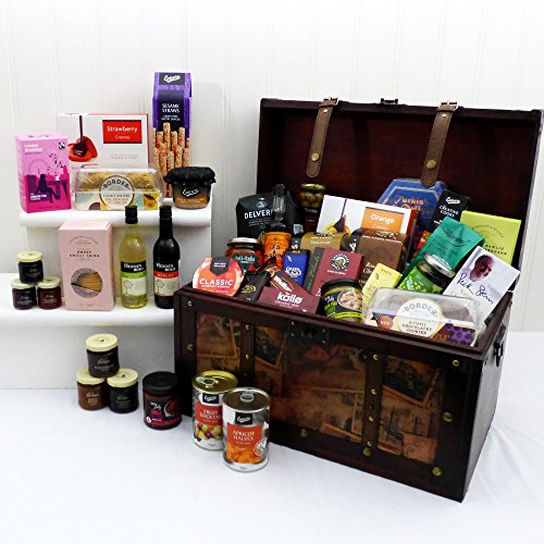 Grand Gourmet Large Vintage Style Wooden Chest Food and Wine Hamper with 39 Gourmet Food Items - Gift ideas for Valentines, Christmas presents, Birthday, Anniversary and Congratulations