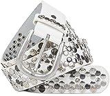 styleBREAKER edler Vintage Nietengürtel mit echtem Leder, verschiedene Nieten und Strass, kürzbar, Damen 03010053, Farbe:Weiß;Größe:105cm