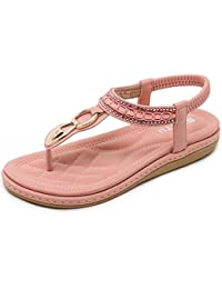 SUNAVY Damen Bling Strass Knöchelriemchen Sandalen,Böhmen Flache Sommer Strand Schuhe mit Metall Knopf Dekoration,Blau,EU40