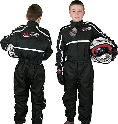 Qtech - Kinder Rennanzug für Gokart/Motocross/Dirt Bike - Schwarz - M