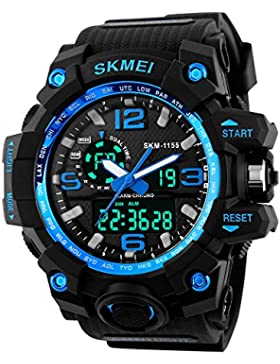 Beswlz Unisex Herren Groß Sport Armbanduhr Multifunktions LED Digital Dual Time Uhren mit 50m Rückbeleuchtung...