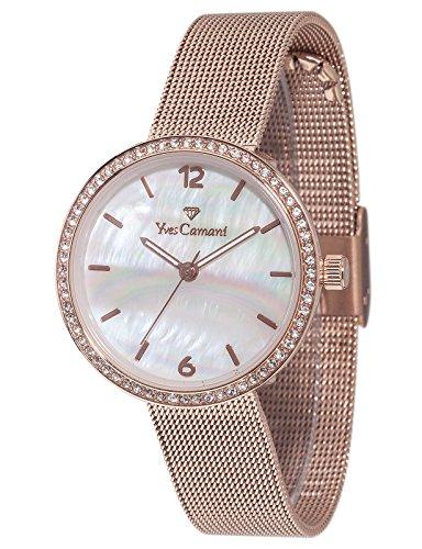Yves Camani Ophelia - Reloj de cuarzo para mujeres, con correa de acero inoxidable de color dorado, esfera nacar