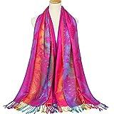 Signora sciarpa frange sciarpa cotone twill cotone scialle inverno Fade caldo Vintage sciarpa jacquard caldo decorato elegante sciarpa migliore regalo per la moglie fidanzata e mamma 195 * 70 centimetri, rosa