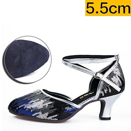 Wxmddn Ladies'scarpe balletti scarpe danza scarpe tango ginnastica danza jazz scarpe danza allenatori scarpe pratica performance Dance scarpe per ragazze donne Argento blu 5.5cm interni