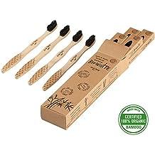 4 Cepillos Bio White dentales blanquadores de Bambu puro, Biodegradable. Recomendados por Dentistas de todo el mundo. Cerdas Negras de Carbon de Bambu con efecto blanqueador libres de BPA