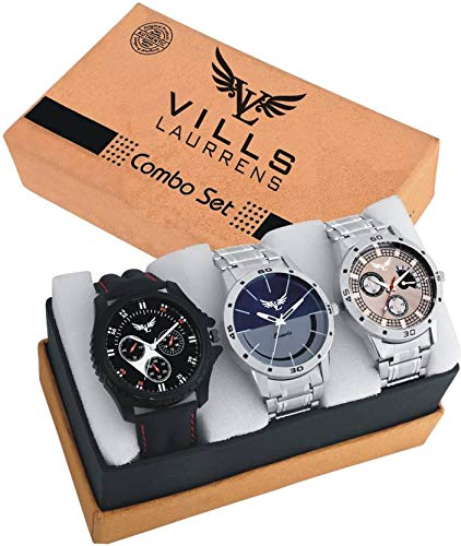 Vills Laurrens Pack of Three Stunning High Quality Multicolored Dial Watch for Men and Boys, (VL-1111+1112+1113)