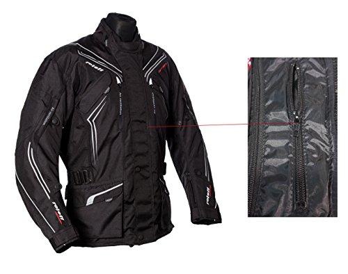 Schwarze Motorradjacke mit Protektoren, Belüftungssystem, Klimamembrane und herausnehmbarem Thermofutter - 9