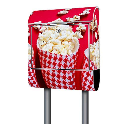 BANJADO Design Briefkasten weiß / 38x47x13cm groß mit Zeitungsfach/Stahl pulverbeschichtet/Wandbriefkasten mit Motiv Popcorn, Briefkasten:mit silbernem Standfuß - Beschichtete Popcorn