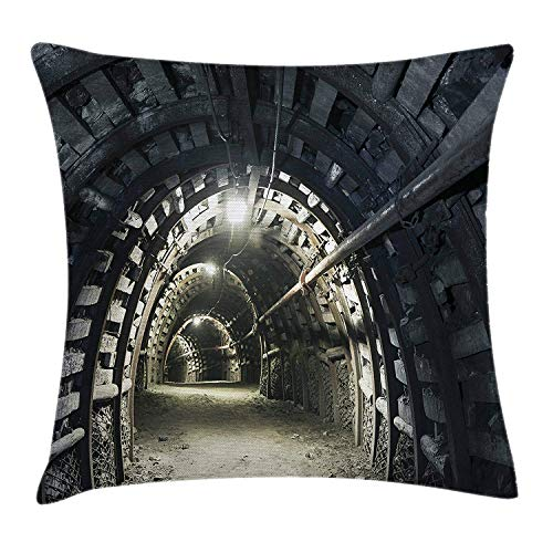 Horror House Decor Throw Pillow Cushion Cover by, Underground Road Scene in Mining Tunnel Rock Science Geology Endless Photo, Decorative Square Accent Pillow Case, 18 X 18 Inches, Gray