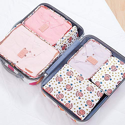 Verpackungswürfel Reiseveranstalter Gepäck Kompressionstaschen-6 Sets Reisezubehör (Vielzahl von Blumen) Dunkelblau (Single Zu Double Stroller)