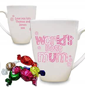 s Pink Muster 'World'Best'kleine Latte Mug. Dies ist ein tolles Produkt, die nach Ihren Bedürfnissen personalisiert (Bitte details main discription für Geschenke und Präsente), Ideal für Hochzeiten, Taufen, Geburtstagen, Weihnachten etc...