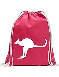 86bcaea6d4035 KIWISTAR - Känguru Kangaroo Beuteltier Turnbeutel Fun Rucksack Sport Beutel  Gymsack Baumwolle mit Ziehgurt