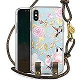 DeinDesign Apple iPhone XS Carry Case Hülle zum Umhängen Handyhülle mit Kette Birds Vogel Muster Blumen