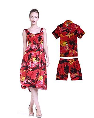 Conjunto-de-Luau-hawaiano-de-madre-e-hijo-Camisa-de-vestir-elstica-en-el-tanque-en-Puesta-de-sol-en-2-colores