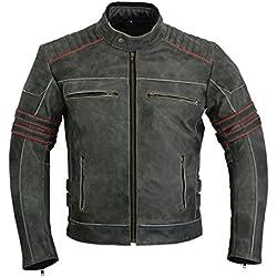 LeatherTeknik Homme Moto blindé Moteur Sports haute protection pour moto Veste en cuir vieilli Dc-4088