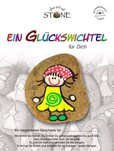 The Art of Stone Glückswichtel Stein Für Dich in GelbGrünRotWeiß mit Spirale, individualisierbarer Glücksstein, von Hand bemalt -