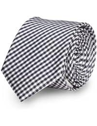 Étroit Cravate de Fabio Farini à carreaux en noir gris