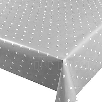 QPC DIRECT Grey PVC Oilcloth Table Cover Vinyl Tablecloth, 137 X 200cm  (Grey Polka Dot)