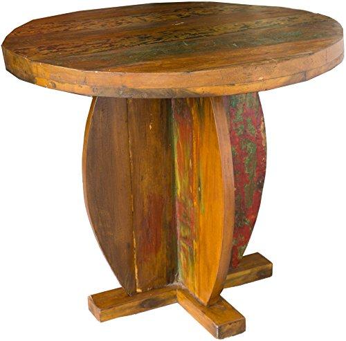 Guru-Shop Table Basse Ronde, Table Basse en Teck Recyclé - Modèle 2, Marron, 70x80x80 cm, Tables Basses Tables de sol