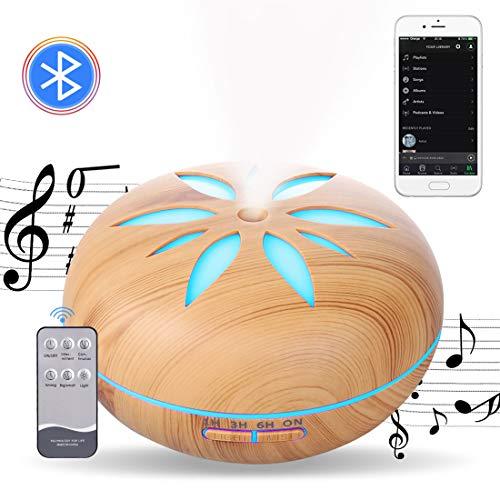 Diffusore di Oli Essenziali musicale,Diffusore di Aromi Bluetooth,Umidificatore Ultrasuoni con Telecomando Altoparlanti 7 colori Luce notturna 4 Timer Silenzioso Auto spegnimento Senza Acqua 550ML