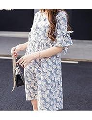 DESY Robe de maternité, robe d'été, jupe florale à haute taille allaitement, longue jupe en coton coton , suits , m
