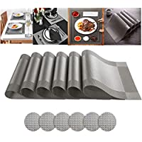 Ayuboom Table Mats,Silver Placemats,Placemats and Coasters,Table Placemats,Set of 6 Placemats,Heat Resistant Heat Insulation Non-slip Washable Dinner Mats for Kitchen and Dining Room