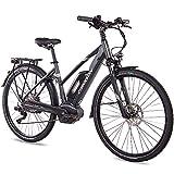 CHRISSON 28 Zoll Damen Trekking- und City-E-Bike - E-Actourus anthrazit matt - Elektro Fahrrad Damen - 10 Gang Shimano Deore Schaltung - Pedelec mit Bosch Mittelmotor Performance Line 250W, 63Nm