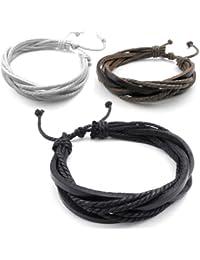 KONOV Bijoux Bracelet Homme - 3 Manchette, Convient pour 20-23cm - Cuir - Fantaisie - pour Homme et Femme - Chaîne de Main - Couleur Marron Blanc Noir - Avec Sac Cadeau