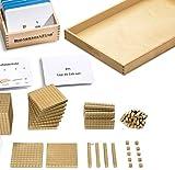 Goldenes Würfelmaterial wie Goldenes Perlenmaterial & Aufgabenkartei mit Selbstkontrolle, Montessori-Material