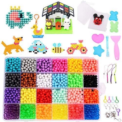 Gudotra 3000 Perlas Kit Abalorios Perlas en 24 Colores Diferentes Cuentas de Agua Manualidades Juguetes para Niños