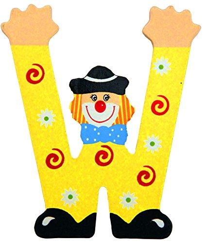 Holzbuchstaben und Zahlen- Clowns - mit Klebepad in zufälliger Farbe - Rimini Baustoffe® - Ideal für Türen und Schränke (Buchstabe W)