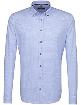 SEIDENSTICKER Herren Hemd Slim 1/1-Arm Bügelfrei Karo City-Hemd Button-Down-Kragen Kombimanschette weitenverstellbar