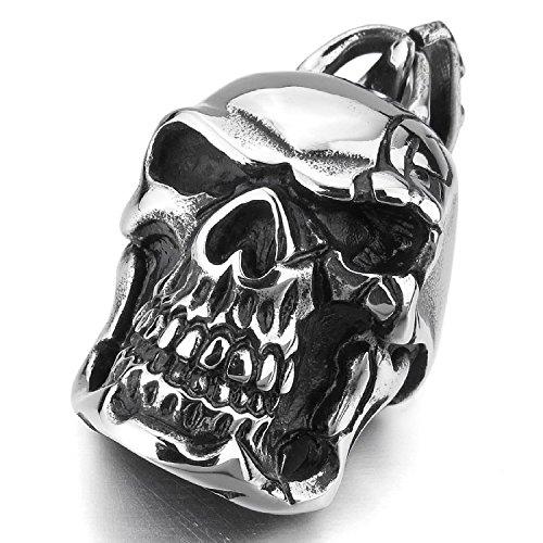 """MENDINO Scarred da uomo """"Punk"""" a forma di teschio fantasma Funk-Pendente in acciaio INOX, colore: argento con catena 55,88 (22"""") cm"""