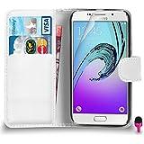 POUR Samsung Galaxy A5 2016 - SHUKAN® Prime Cuir BLANC Portefeuille Cas Couverture ROSE Bouchon de poussière Protecteur d'écran & Tissu de polissage