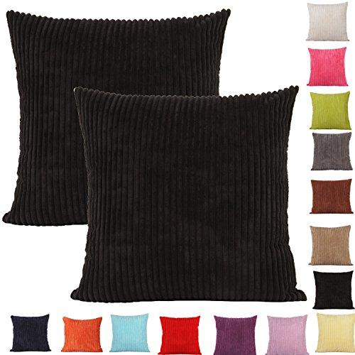 Comoco 2pcs Einfarbig Big Corn Gestreifte Dicke Cord Dekorative Kissenbezug für Sofa In 15 Farben und 7 Größen erhältlich