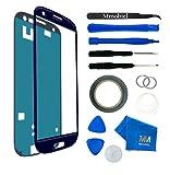 MMOBIEL Front Glas Reparatur Set für Samsung Galaxy S3 Mini i8190 i8195 Series (Blau) Display Touchscreen mit 11 tlg. Werkzeug-Set inkl passgenauem Klebe-Sticker/Pinzette / Saugnapf/Metall Draht/Tuch