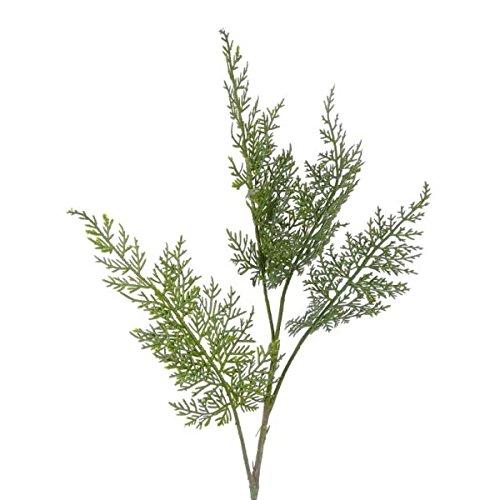 Künstlicher Zedernzweig MELVIN, dunkelgrün, 4 große Blätter, 45 cm - Deko Zweig Weihnachten / Kunst Zweig Herbst - artplants