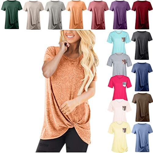Dorical Tshirt Oberteile für Damen Frauen Kurzarm Rundhal Lose Shirt,Oversize Oberteile,Casual Tops Tee,Ladies Sommer Hemd Lässige Tunika Bluse Shirt,Strand Partykleid Dame Commander
